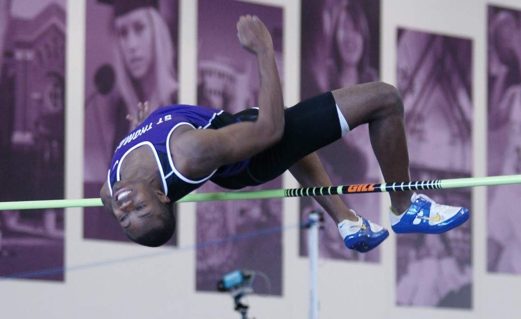 <p>Junior All-American Eyo Ekpo has posted career-best marks in the high jump this season. His performance at the MIAC outdoor championship earned him most outstanding performance honors. (John Kruger/TommieMedia)</p>