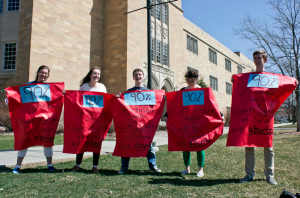 "Pro-life students rally on the Lower Quad Thursday for the second annual ""Save the Humans Week."" (Morgan Neu/TommieMedia)"