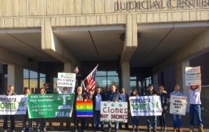 Minnesota NORML demonstrators gather outside the Dakota County Judicial Center. Multiple St. Thomas students are involved in the organization that seeks to legalize marijuana in Minnesota. (Photo courtesy of Minnesota NORML)