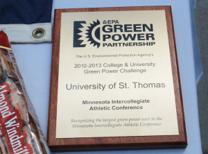St. Thomas was presented with the 2012-2013 Green Power award last April. This is the third consecutive year St. Thomas has received the award. (Whitney Abrahamson/TommieMedia)