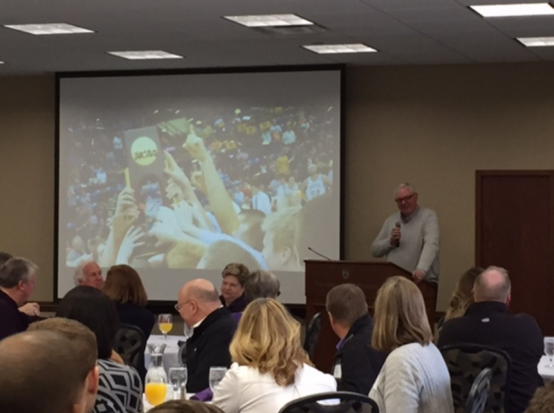 Former St. Thomas basketball coach and current athletic director Steve Fritz addresses the 2011 NCAA Division III national champion Tommies and their families Saturday at McNeely Hall. The 2010-2011 Tommies finished the season with a 30-3 record. (Taylor Smith/TommieMedia)