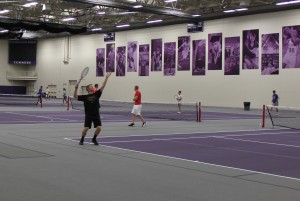 Students play tennis on all four courts in the Anderson Athletic and Recreation Complex. (Val Turgeon/TommieMedia)