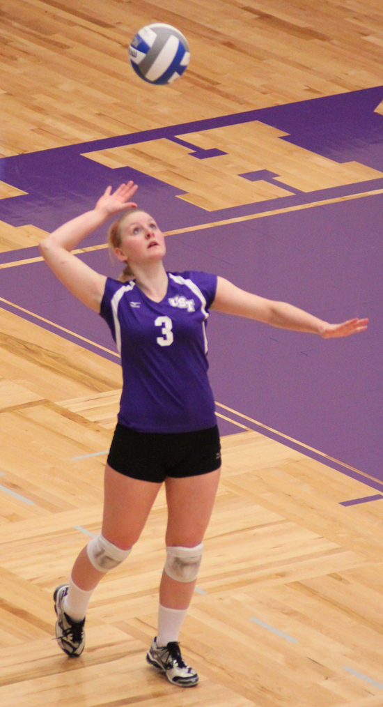 <p>Kaitlain Wachter serves up the ball against UW-Eau Claire, Saturday. (Gina Dolski/TommieMedia)</p>