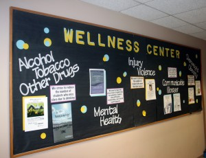 The Wellness Center's bulletin board offers information about the different councils that will be introduced next semester. (Maggie Clemensen/TommieMedia)