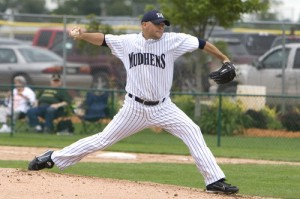 <p>Olean has been pitching for the Mieseville Mudhens for the past six years. (Submitted photo courtesy of Chris Olean) </p>