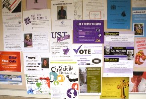<p>USG candidates post flyers around campus, motivating people to vote. (Brian Matthews/TommieMedia) </p>