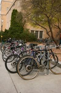 St. Thomas bike culture is represented by full bike racks outside campus buildings. (Gina Dolski/TommieMedia)