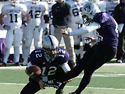 <p>Tommie kicker Tim Albright puts in a 32-yard field goal to put the Tommies up by 10, before Linfield came back with 10 points of its own to tie up the game at halftime. (John Kruger/TommieMedia) </p>