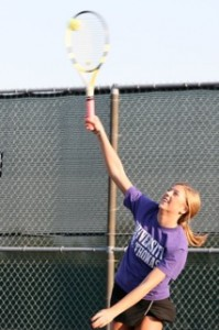 Freshman Mary Allen had the only win against Gustavus at six singles. (Michael Ewen/TommieMedia)