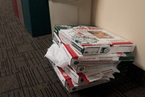 The remnants of one club's lunchtime meeting stack up. (John Kruger/TommieMedia)