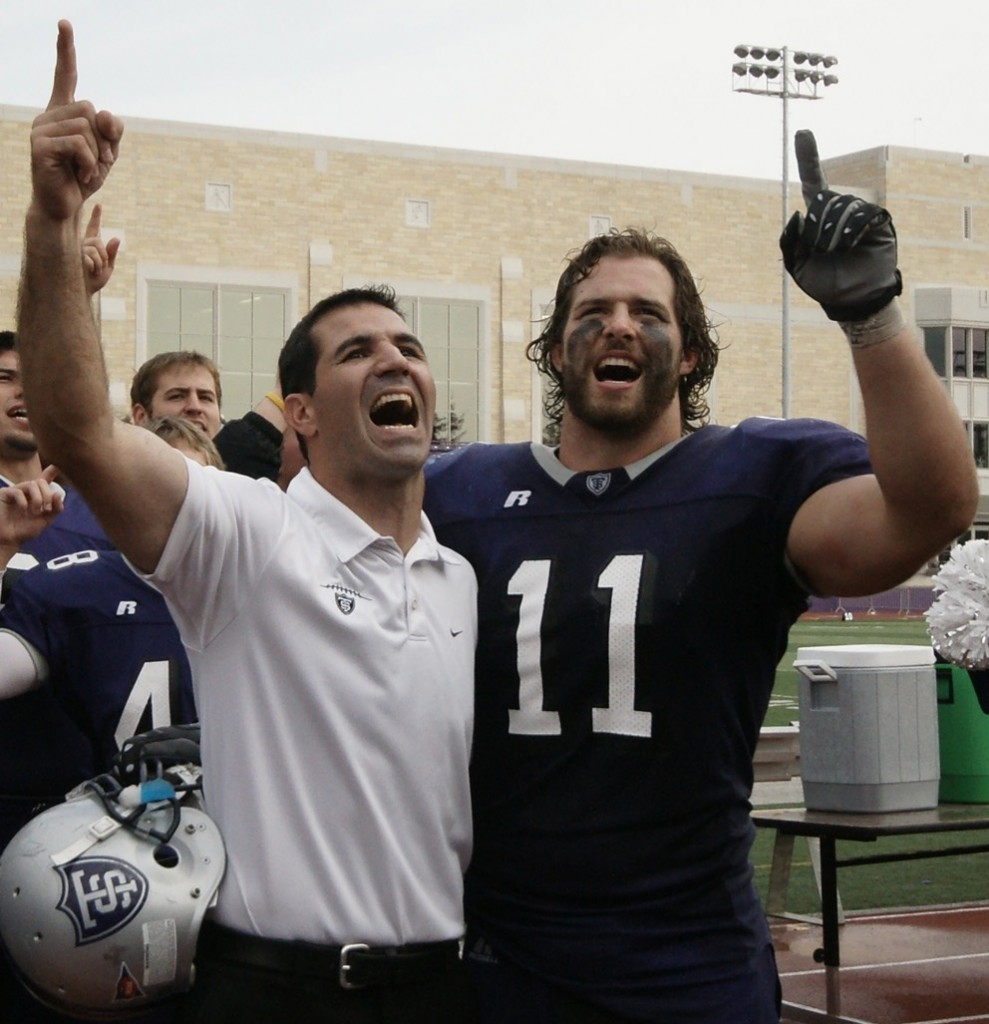 Senior Tommy Becker, right, and coach Glenn Caruso after an Oct. 23, 2010, game against Bethel. Becker participated in an NFL pro day Tuesday at Concordia. (John Kruger/TommieMedia)