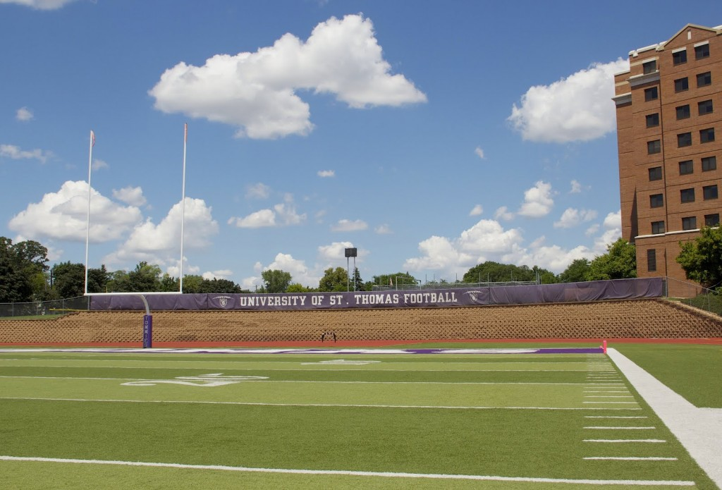 The new video board will be located at the north end of O'Shaughnessy Stadium. Construction on the new board will begin during the last week in July and will be finished in time for the first football game on Sept. 8. (Hannah Anderson/TommieMedia)